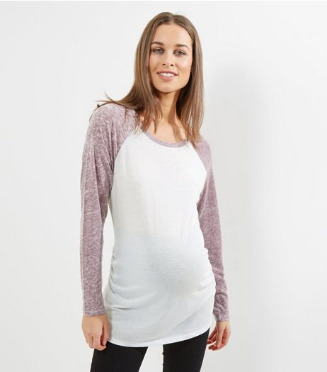 Maternity Burgundy Raglan Sleeve T-Shirt | New Look