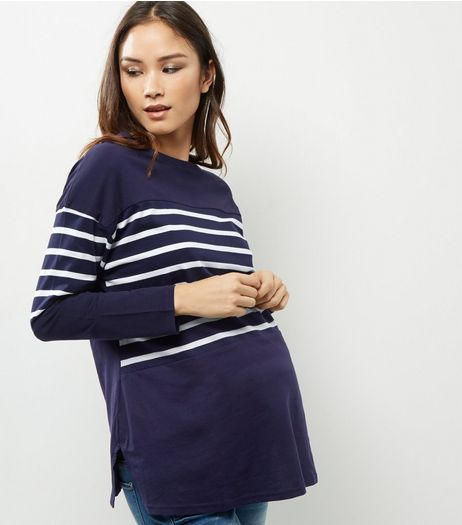 Maternity Blue Stripe Long Sleeve Cotton Top  | New Look
