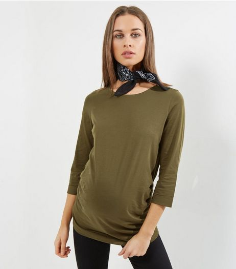 Maternity Olive Green Rolled 3/4 Sleeve T-Shirt | New Look
