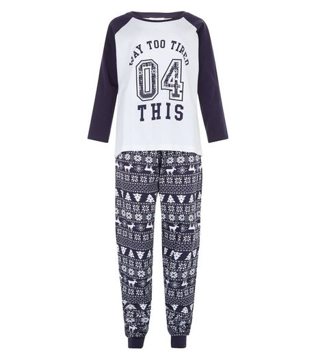 Teens Blue Way Too Tired 04 This Raglan Pyjama Set | New Look