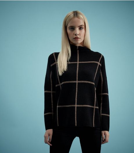 Petite Black Check Print Turtle Neck Jumper | New Look
