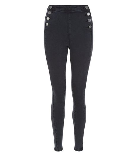 Teens Black Button Front Skinny Jeans | New Look