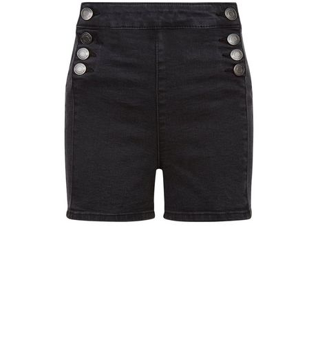 Teens Black Button Front Denim Shorts | New Look