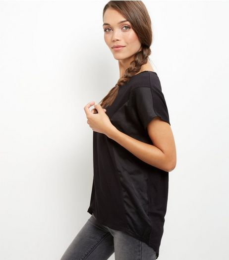 Black Side Panel Sateen T-Shirt | New Look