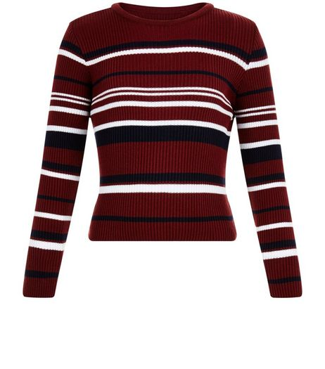 Girls White Stripe Ribbed Jumper | New Look