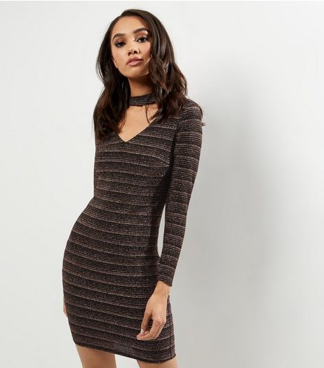 Petite Black Metallic Stripe Choker Neck Bodycon Dress | New Look