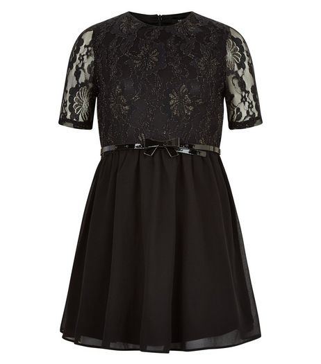 Girls Black Metallic Lace Dress | New Look