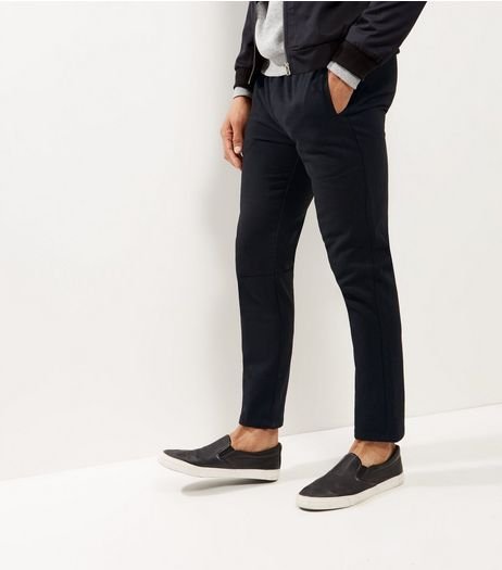 Black Straight Leg Smart Joggers  | New Look