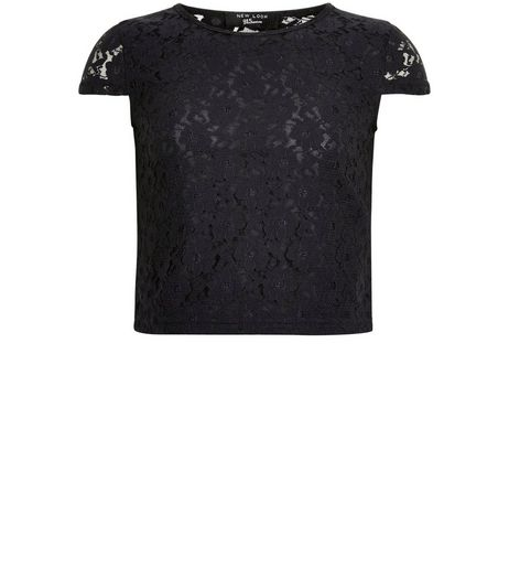 Girls Black Lace Cap Sleeve Top | New Look