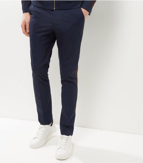 Navy Side Stripe Skinny Trousers | New Look