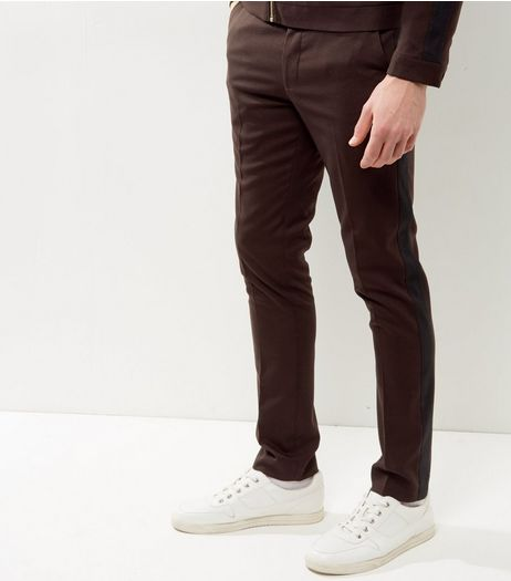 Burgundy Side Stripe Skinny Trousers | New Look