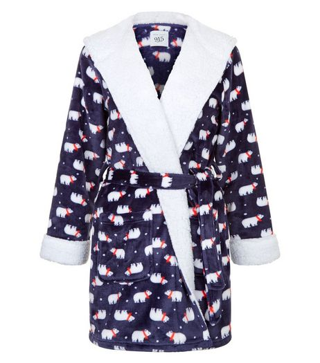 Teens Blue Borg Trim Polar Bear Print Robe | New Look