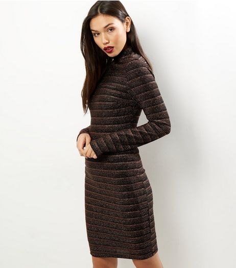 Tall Black Metallic Stripe Funnel Neck Bodycon Dress | New Look