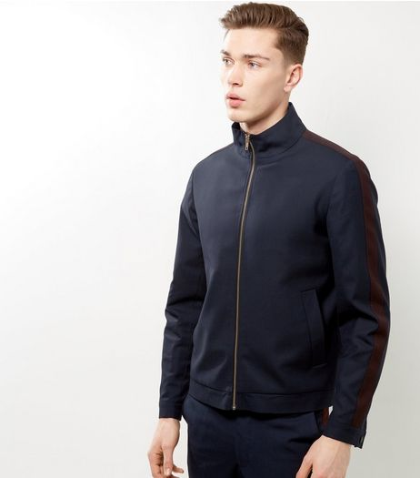 Navy Tailored Side Stripe Funnel Neck Jacket | New Look