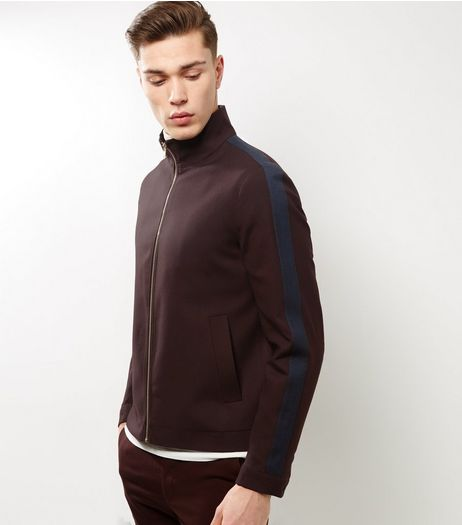 Burgundy Side Stripe Funnel Neck Jacket | New Look