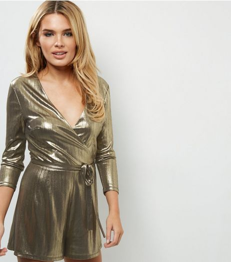 Tall Gold Metallic Wrap Front Playsuit | New Look