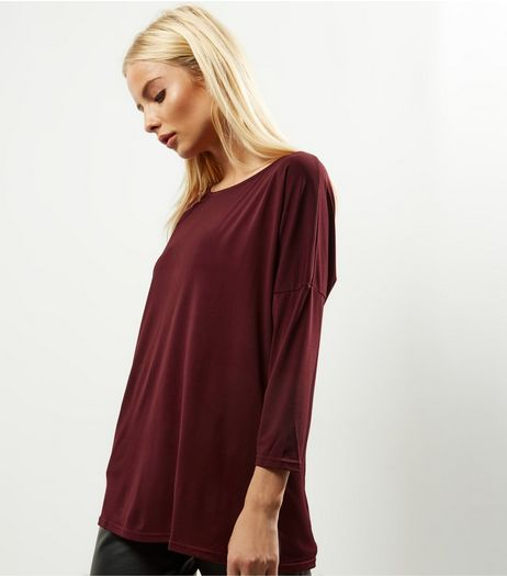 Burgundy Batwing Sleeve Longline Top | New Look