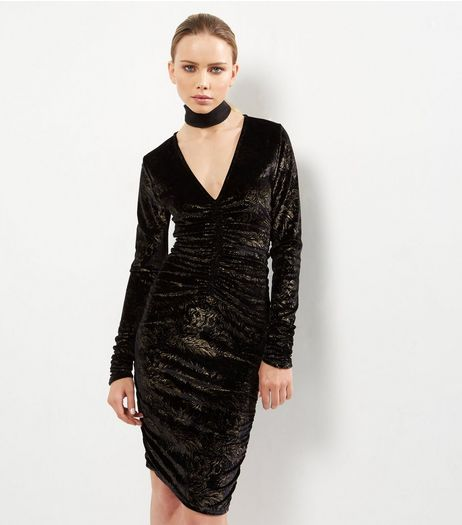 Tall Black Foil Print Ruched Front Dress | New Look