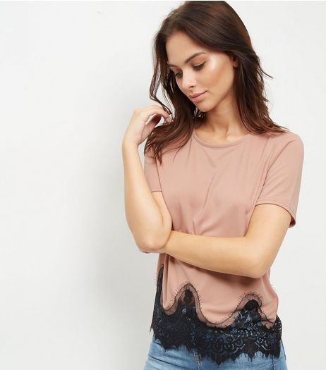 Pink Lace Trim T-Shirt  | New Look
