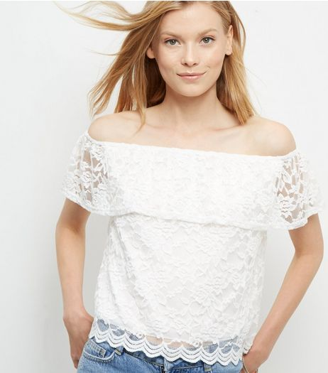 Cream Lace Bardot Neck Top | New Look