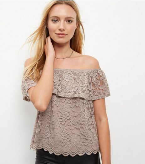 Mink Lace Bardot Neck Top | New Look
