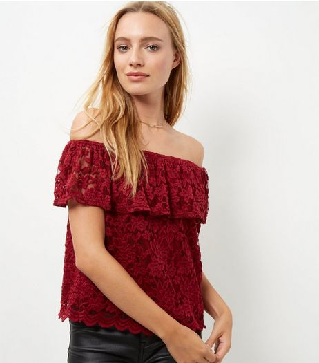 Burgundy Lace Bardot Neck Top | New Look