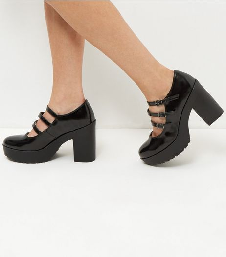 Wide Fit Black Patent Platform Block Heels | New Look