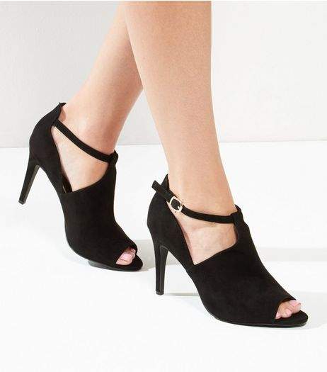 Black Comfort Suedette Cut Out Heels | New Look