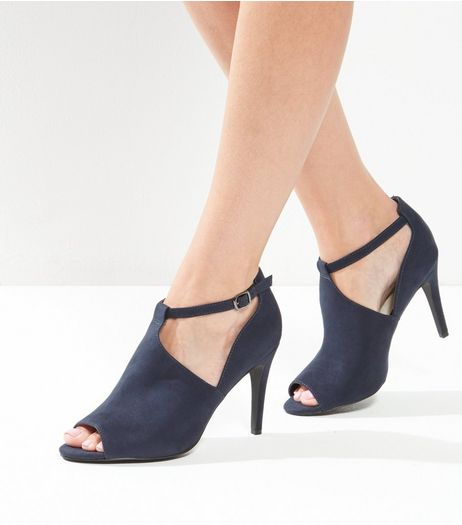 Navy Comfort Suedette Cut Out Heels | New Look