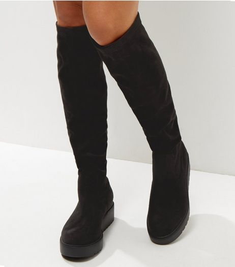 Wide Fit Black Knee High Flatform Boots | New Look