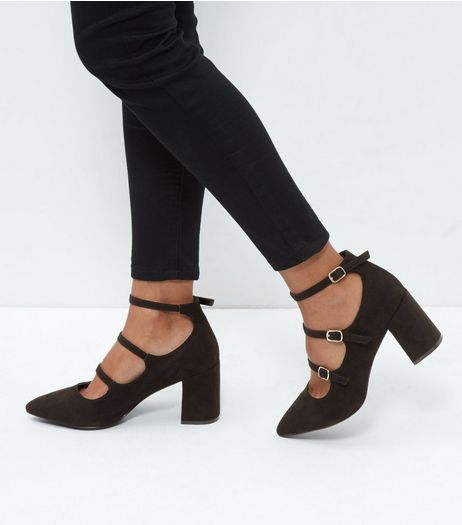 Wide Fit Black Suedette Triple Strap Pointed Block Heels  | New Look