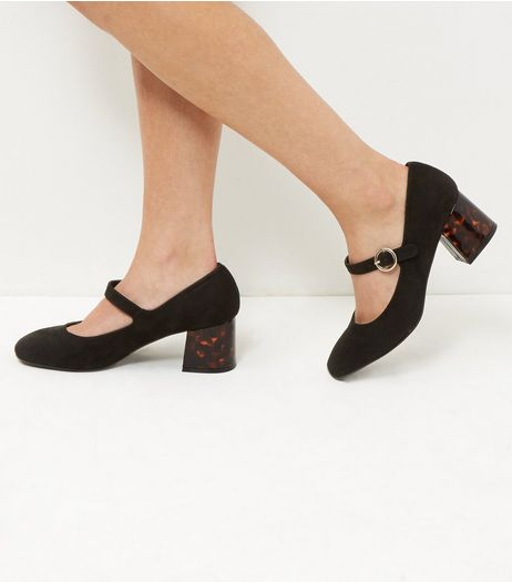 Wide Fit Black Suedette Flared Mary Jane Heels | New Look