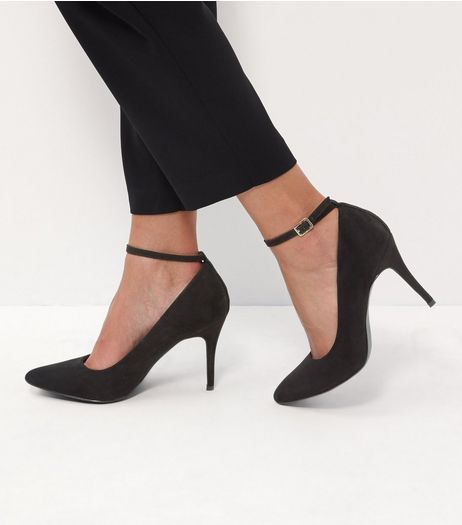 Black Comfort Suedette Pointed Ankle Strap Heels | New Look