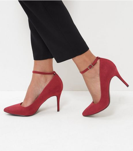 Red Comfort Suedette Pointed Ankle Strap Heels | New Look