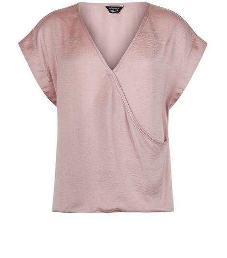 Teens Mid Pink Satin Wrap Top | New Look