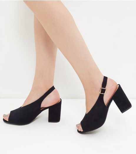 Wide Fit Black V Throat Peep Toe Sling Back Block Heels | New Look