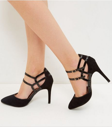 Black Suedette Double Bar Heels | New Look