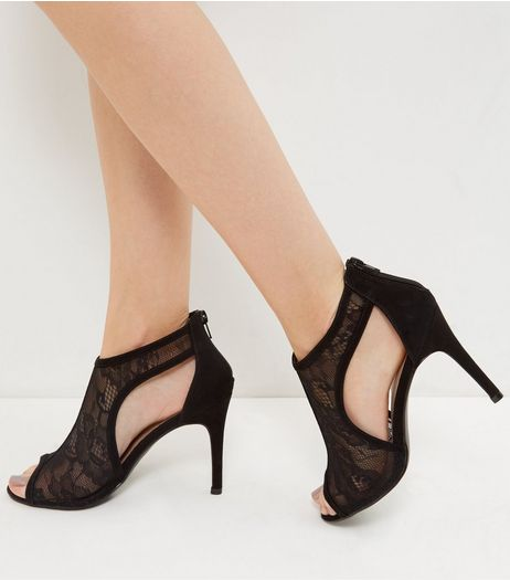 Black Lace Peep Toe Sandal | New Look