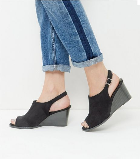 Wide Fit Black Suedette Wedges | New Look