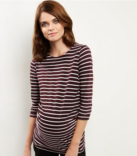Maternity Burgundy Stripe 3/4 Sleeve Top | New Look