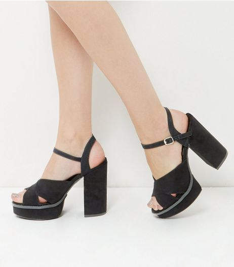 Wide Fit Black Suedette Cross Strap Platform Heels | New Look