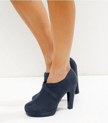 Navy Comfort Suedette Cross Stitch Platform Shoe Boots  | New Look