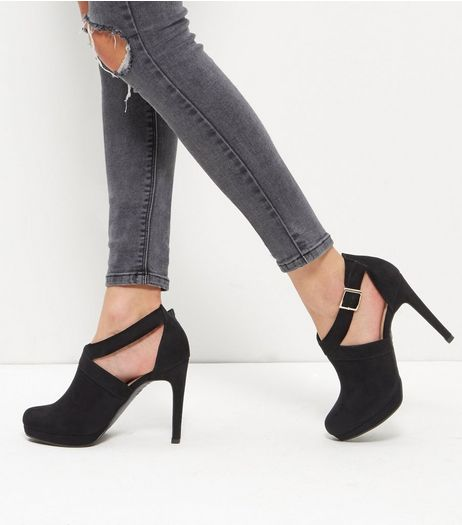 Black Comfort Suedette Sling Back Heels | New Look