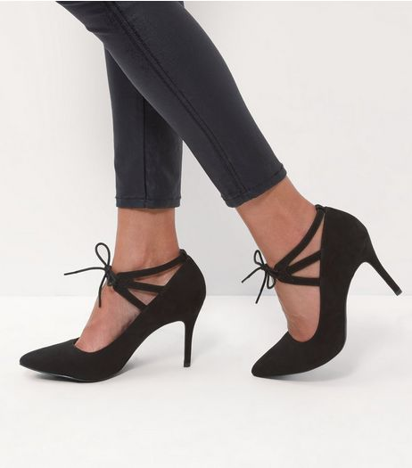 Black Comfort Lace Up Pointed Heels | New Look