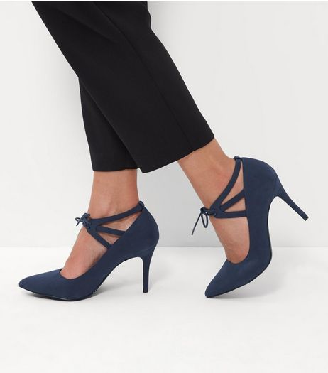 Navy Comfort Lace Up Pointed Heels | New Look