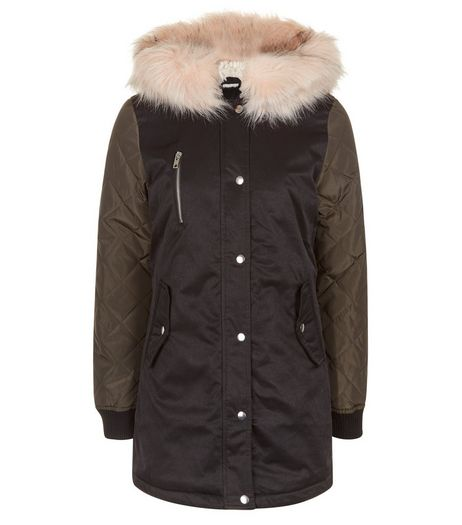 Teens Black Faux Fur Hooded Contrast Sleeve Parka | New Look