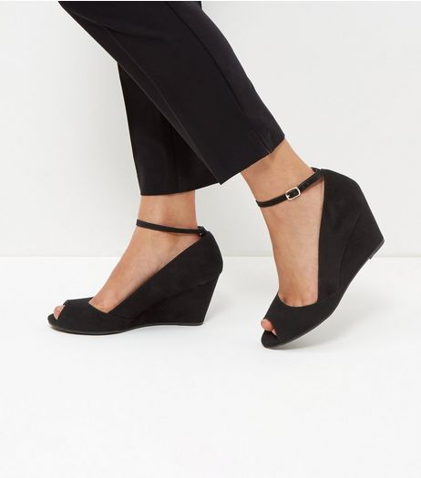 Black Comfort Suedette Peep Toe Ankle Strap Wedges  | New Look