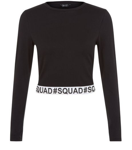 Teens Black Squad Trim Long Sleeve Top | New Look