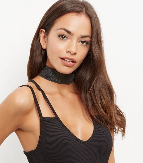 Black Sparkly Wide Choker | New Look