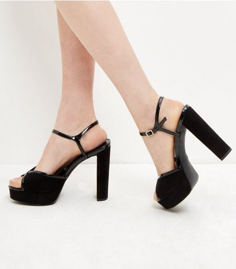 Black Suedette Contrast Trim Peep Toe Ankle Strap Heels  | New Look